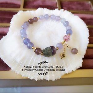 14K Gold plated fluorite PiXiu Gemstone & strawberry Quartz Gemstone bracelet